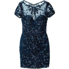 Zuhair Murad Sequin Mini Dress ($3,285) ❤ liked on Polyvore featuring dresses, zuhair murad, blue, blue dress, blue sequin cocktail dress, short dresses and sequin embellished dress