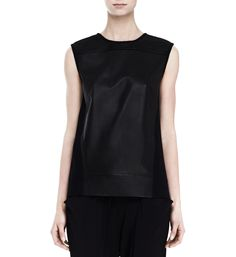 Helmut Lang Ink Leather Round Neck Top