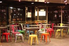 Paris!  love these colorful juxtaposed chairs