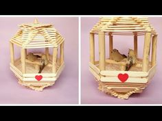 Popsicle Stick Birdhouse, Popsicle Stick Crafts House, Birdhouse Craft, Popsicle Sticks, Craft Stick Crafts, Decor Crafts, Home Crafts, Arts And Crafts, Paper Craft