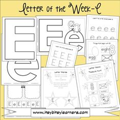 Letter E Preschool Printables (free) Also has links to other letter sets and recommended books to reinforce the letters! Preschool Letters, Letter Activities, Preschool Printables, Learning Letters, Preschool Kindergarten, Preschool Learning, Preschool Activities, Letter Worksheets, Free Preschool