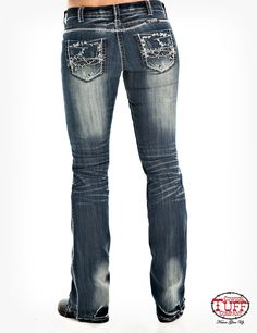 This Cowgirl Tuff truly branded barbwire jean is full of studs and attitude! You will love all the features of this amazing jean from the awesome whiskering detailed medium wash to all the antique silver riveted studs placed on the back & front pockets. Cowgirl Tuff Jeans, Cowgirl Outfits, Girls Pants, Pants For Women, Business Outfits Women, Business Women, Country Style Outfits, Types Of Jeans, Best Jeans