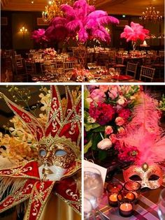 maybe use feathers and flowers to pull in feel of masquerade ball...with masks on tables or in the centerpieces. use the lighting to set the mood