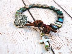 Boho Knotted Abalone Bracelet with Earthy Cross Silver Filigree Button// Boho Earthy Luxe Chic/ Free shippingFree shipping on Etsy, $40.00