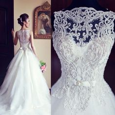 Newest Elegant Sleeveless Crystal Wedding Dresses 2017 Fashion White A Line Princess Tulle Bridal Gowns Long High Quality Stunning Top Crystal Wedding Dresses, Elegant Wedding Gowns, 2015 Wedding Dresses, Wedding Dress Shopping, Cheap Wedding Dress, Bridal Dresses, Gown Wedding, Backless Wedding, Lace Wedding