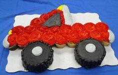 Truck Cupcake Cake For dustin! Cupcake Birthday Cake, Cupcake Party, Cupcake Cookies, Party Cakes, Pull Apart Cupcake Cake, Pull Apart Cake, Monster Truck Cupcakes, Cupcake Cake Designs, Cupcake Ideas