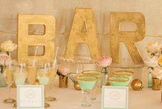 """Bar"" sign for wedding reception"