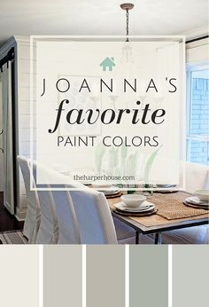 Joanna's five favorite Fixer Upper paint colors - Alablaster, repose gray, mindful gray, oyster bay, silver strand. by MaryJo Ferrante- Graffagnino colors Fixer Upper Paint Colors - The Most Popular of ALL TIME Interior Paint Colors, Paint Colors For Home, Gray Paint Colors, Interior Painting, Hgtv Paint Colors, Rustic Paint Colors, Best Bathroom Paint Colors, Ceiling Paint Colors, Basement Paint Colors