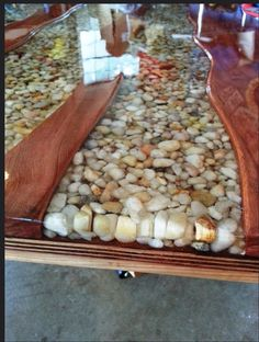 River rock table