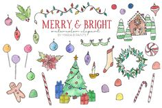 Watercolor Clip Art - Christmas by Maria B. Paints on Creative Market