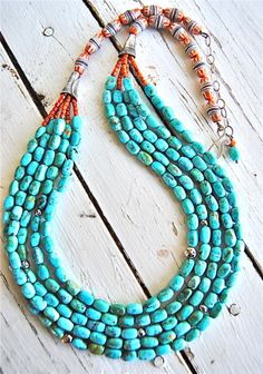 Kingman Blue Calibrated Turquoise nuggets, Apple Coral, hand made Fine Silver Cones finished with sand cast trade beads. Made by Ann Goodall Turquoise Pendant, Turquoise Jewelry, Kingman Turquoise, Beaded Jewelry, Handmade Jewelry, Jewelry Necklaces, Bracelets, Western Jewelry, Indian Jewelry