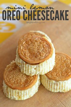 Lemon Oreo Cheesecakes - made in just a few easy steps - made in muffin tins, lemon Oreos are the crust.