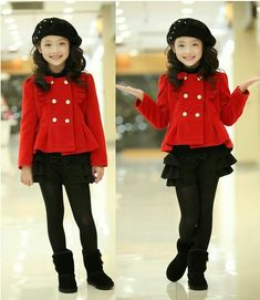 Red jacket with gold buttons and black skirt with black hat and black stalkings with black boots Fashion Kids, Little Girl Fashion, Little Girl Dresses, Girls Dresses, Outfits Niños, Kids Outfits, Leila, Kids Coats, Girls World