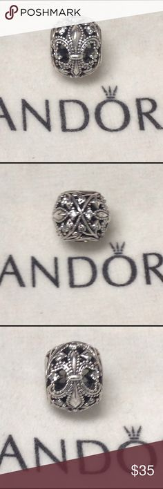 😀FIRM Price-Authentic Pandora Fleur-De-Lis With clear cz's this charm is full of sparkle!! Beautiful and authentic Pandora Pandora Jewelry Bracelets