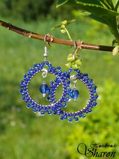 Blue bead embroidery earrings, royal blue seed beads