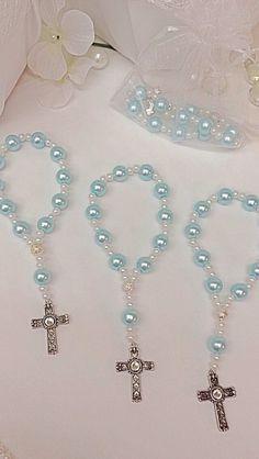Pulseras de perla Rosario mini de cristal azul claro una docena. Ideal para…
