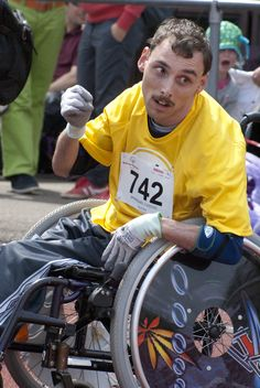 At the Special Olympics, I saw many brave people, but this man was incredible. Although all the others had reached the finish long time, he went on, alone on the track with an enormous courage and perseverance. Speed or being the first didn't matter, only finishing was important to him. For everyone witnessing his battle against his limitations, it was so exiting, when he finished, it was with such a relief that it brought tears to many eyes.