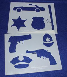 Police Department Stencils -Mylar 2 Pieces of 14 Mil X Painting /Crafts/ Templates Stencils, Stencil Painting, Police, Shapes, Templates, Quilts, Sewing, Cards, Coupon Organization