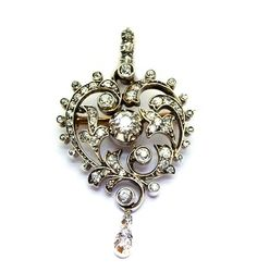Victorian diamond brooch pendant. c1880. Offered by  Emmy Abe at Grays.