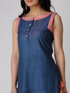 Buy DRAMA SISTERS Indigo Khadi Cotton Kurta with Tassels online in India at best price. Salwar Neck Designs, Churidar Designs, Neck Designs For Suits, Kurta Neck Design, Kurta Designs Women, Dress Neck Designs, Blouse Designs, Denim Kurti Designs, Salwar Pattern