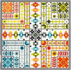 August Patchwork Sampler Quilt Pattern by Elizabeth Hartman Sampler Quilts, Scrappy Quilts, Baby Quilts, Amish Quilts, Patchwork Quilting, Antique Quilts, Vintage Quilts, Vintage Sewing, Elizabeth Hartman Quilts