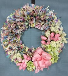 "20"" Spring Tulip Wreath by PensPreciousTreasure on Etsy"