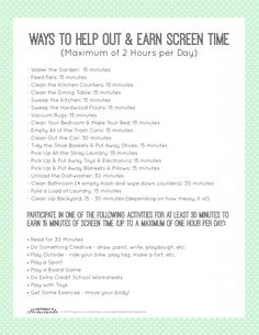 Printable Chore List to Earn Screen Time Chores and Ways to Help Out and Earn Screen Time Printable Parenting Advice, Kids And Parenting, Parenting Styles, Parenting Websites, Peaceful Parenting, Parenting Classes, Foster Parenting, Gentle Parenting, Screen Time For Kids