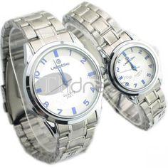 Os brancos circulares moldura da tabela de luxo à prova dágua relógios casal