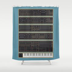 Moog Modular Synthesizer Shower Curtain by sonsofwolves on Etsy