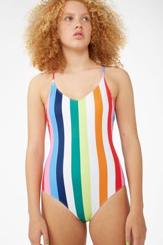 2adc68c91ef51 A cross back swimsuit with a classic high-leg cut and spaghetti straps.  Striped
