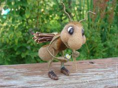"""Купить Миниатюра """"Работяга муравей"""" - коричневый, игрушка ручной работы, миниатюра, шерсть, кардочес, мулине"""