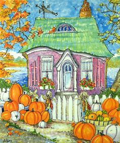 """Daily Paintworks - """"Purveyors of Perfect Pumpkins Storybook Cottage Series"""" - Original Fine Art for Sale - © Alida Akers Cute Cottage, Cottage Art, Illustrations, Illustration Art, Storybook Cottage, Art Deco Era, Whimsical Art, Art Lessons, Watercolor Paintings"""