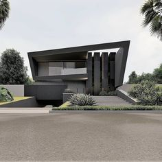 The modern home exterior design is the most popular among new house owners and those who intend to become the owner of a modern house. Modern House Facades, Modern Architecture House, Architecture Design, Minimalist Architecture, Facade Design, Exterior Design, Modern Villa Design, Contemporary Design, Black House Exterior