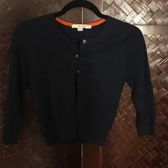 Navy Boden Cardigan This cardigan is super soft. It's the perfect layer. The back has detail that far surpasses those J Crew cardigans! Boden Sweaters Cardigans