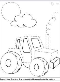 Preschool Kindergarten, Preschool Worksheets, Free Preschool, Tractor Drawing, Tracing Sheets, Printing Practice, Farm Activities, Manners Activities, Farm Theme