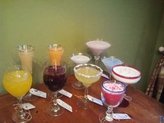 Happy Hour with Soy and Gel Candles.  Margaritas, Martini's, Cabernet and Chardonnay Wines, Champagne and Daquiri's