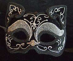 Venetian Mask Mardi Gras Black Felt Cat Halloween Masquerade Costume ...