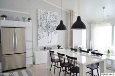 olohuone,keittiö,marimekko,pinnatuolit,keittiönpöytä