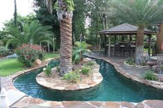 You can now have the pool that you dream about without the bother of day-to-day upkeep! It is all kind lazy river pool you'll only find in here. Lazy River Pool, Backyard Lazy River, Backyard Paradise, Backyard Retreat, Large Backyard Landscaping, Small Backyard Pools, Outdoor Pool, Backyard Ideas, Pool Spa