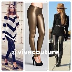 Vegan leather leggings New color - Bronze Vegan leather leggings . Best selling style . Also available in black and wine . NWOT . PLEASE DO NOT BUY THIS LISTING COMMENT FOR SIZE and I will create a personal listing for you . Vivacouture Accessories Hosiery & Socks