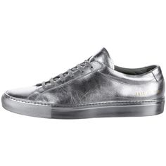 Pre-owned Common Projects Achilles Leather Sneakers ($275) ❤ liked on Polyvore featuring men's fashion, men's shoes, men's sneakers, silver, mens ties, mens leather sneakers, mens rubber sole shoes, mens leather tie and mens shoes