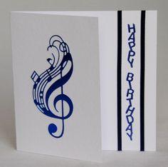 A Handmade Die Cut Birthday Card For Music Lover