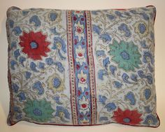 VINTAGE DECORATIVE THROW PILLOW - INDIAN BOHEMIAN/HIPPIE QUILTED BLANKET BLOCK PRINT 1960'S