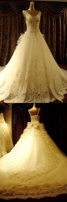 High Quality Floor-length V-neck Beading Chapel Train Wedding Dresses WD068#beads #wedding #dresses #lace