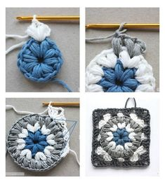 "Crochet Motif - ""Triple Puff"" Granny Square + Free Pattern Step By Step ergahandmade: Crochet Motif – ""Triple Puff"" Granny Square + Free Pattern Step By Step Granny Square Crochet Pattern, Crochet Flower Patterns, Crochet Stitches Patterns, Crochet Squares, Crochet Motif, Diy Crochet, Crochet Designs, Crochet Crafts, Crochet Granny"