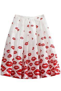 Hot Lips Print Mesh Allover Skirt - OASAP.com