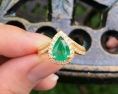 4.46g Brilliant Green Emerald 14K Natural Diamond Gold Ring