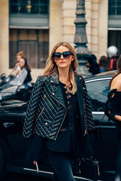 Olivia Palermo in an Embellished Leather Jacket at Paris Fashion Week.