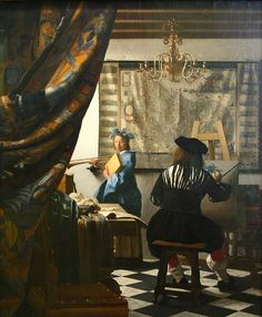 Johannes Vermeer 1632-1675, The Art of Painting. The artist in painting is assumed to be Vermeer playing with viewers by not revealing his own face