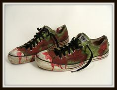 Bloody Green ZOMBIE SHOES vintage Chucks Converse All Stars mens us 10 or womens us 12 by wardrobetheglobe on etsy, $42.00